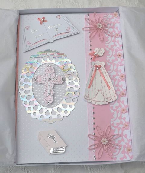 LARGE A4 BAPTISM HAND MADE GIRLS KEEPSAKE CARD BOXED IN PINKS